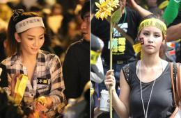 """台湾""""反服贸""""现场的女学生"""