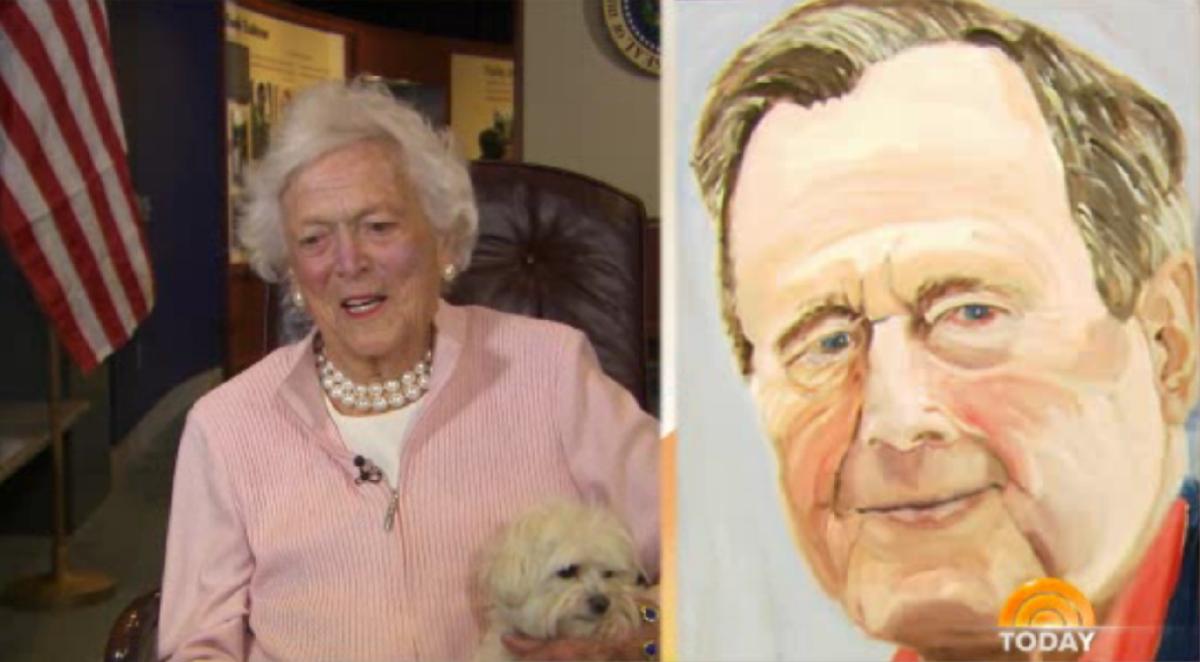 美前总统小布什为父亲创作肖像画遭母亲调侃