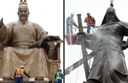 首尔市清洁世宗大王和李舜臣铜像迎春(组图)