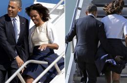 奥巴马为米歇尔拉短裙防走光
