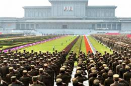 """朝鲜陆海空三军举行庆祝""""太阳节""""仪式"""