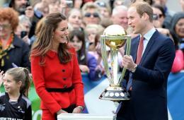 凯特王妃和威廉王子在新西兰参加板球世界杯预热