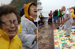 韩国沉没客轮乘客家属佛教法事上失声痛哭