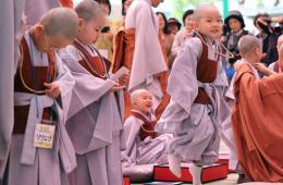 韩国儿童短期出家迎佛诞节 手摸光头频卖萌