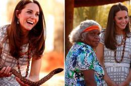 """威廉夫妇访澳看艾尔斯岩 凯特持""""长蛇""""不惧"""