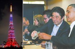 安倍夜陪奥巴马喝酒吃寿司 东京塔亮星条旗