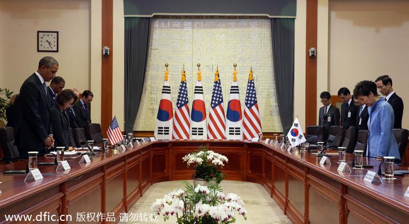 """奥巴马到访韩国 向""""岁月""""号沉船遇难者默哀"""