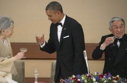 奥巴马出席日本天皇夫妇主办的皇宫晚宴