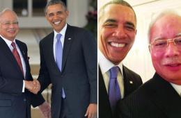 奥巴马与纳吉布会谈之余玩自拍