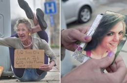美国60岁前《花花公子》女模沦落街头卖艺乞讨