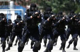 中国第二支赴利比里亚维和警察防暴队举行汇报演练