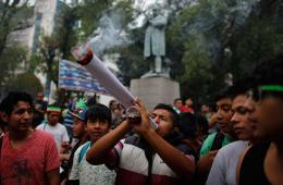 墨青年议会大楼前抽巨型大麻 要求大麻合法化