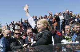 乌克兰美女总统候选人季莫申科举行竞选集会
