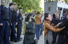 乌克兰警察逮捕亲俄抗议者 母亲跪下祈求释放儿子