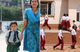 尼泊尔学生的多彩校服为城乡街头增添亮色