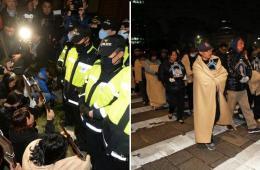 韩沉船事故遇难者家属见朴槿惠被阻 跪求放行