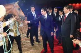 习近平接受土库曼斯坦总统所赠中方一匹汗血马