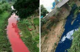"""广东一企业趁暴雨偷排污水""""造""""红蓝河"""