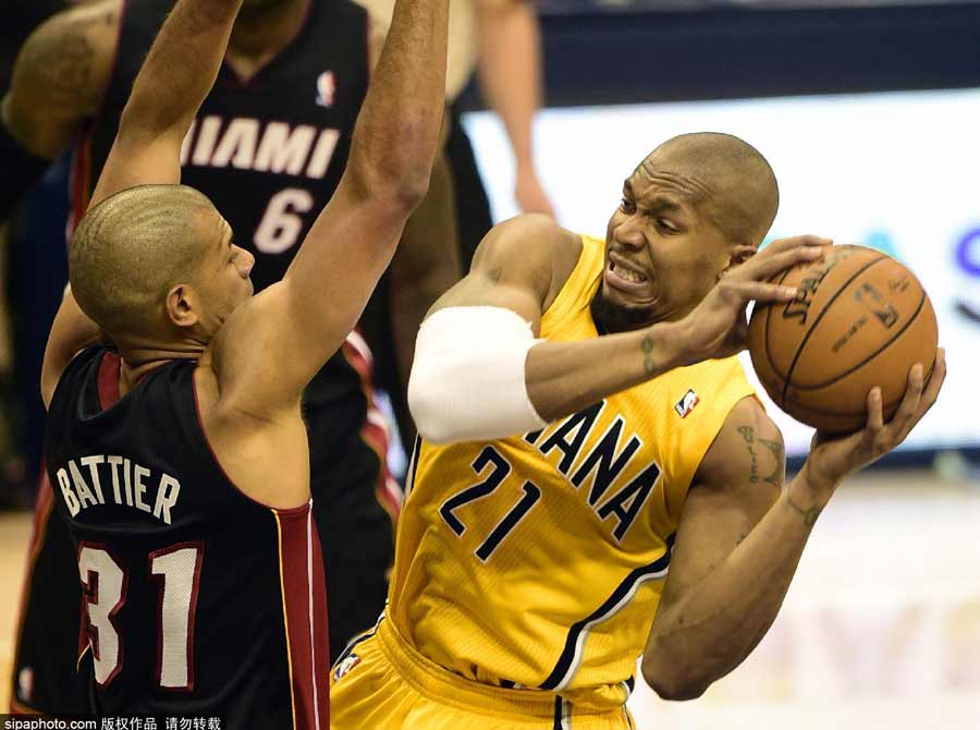 NBA季后赛 热火击退步行者追成1-1