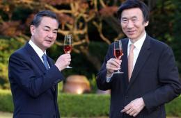 尹炳世邀王毅游玩韩国外交部花园 品酒散步悠闲自得
