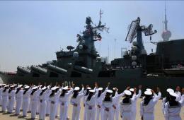 俄罗斯参加军演舰船驶离上海