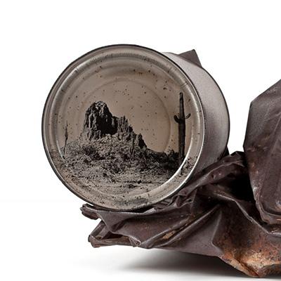 铁皮罐底的美国西部沙漠风景