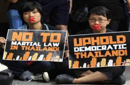 """活动家在菲律宾""""封口""""抗议泰国军事统治"""