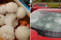 美国中西部遭冰雹袭击 大小似棒球