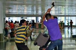 海口机场演练应对持刀砍人歹徒