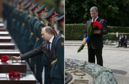 普京波罗申科纪念二战 同日向无名烈士墓献花