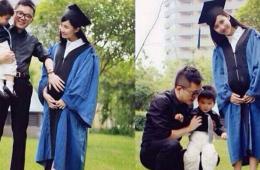 美女硕士抱儿子怀女儿拍毕业照