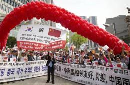 """韩民众集会欢迎习近平访韩 称""""钓鱼岛是中国的"""""""