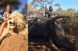 美国一女子晒与狮子大象尸体合影照 40000人签名谴责