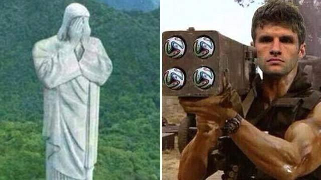 网友晒图调侃巴西:国旗变球门被攻破 神像也哀伤-图片图片