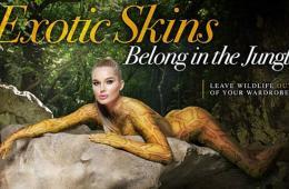 英国最性感女星化身蟒蛇 呼吁减少动物皮革消费