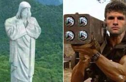 网友晒图调侃巴西:国旗变球门被攻破 神像也哀伤