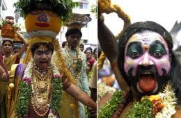 印度民众载歌载舞庆祝奉食节