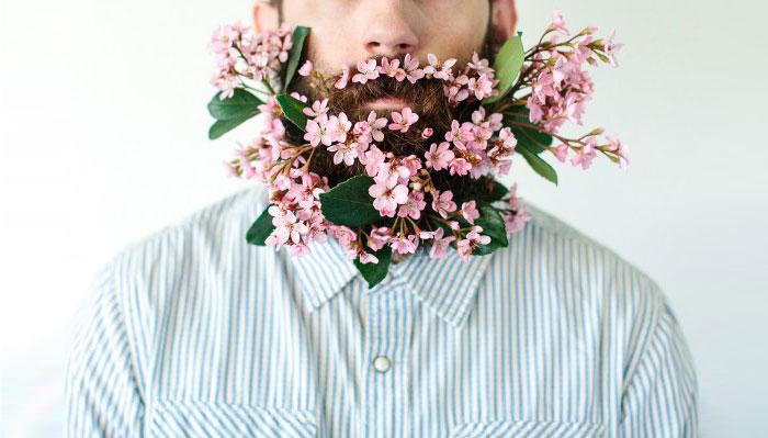 外国另类胡子插花艺术
