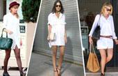 跟着明星学穿衣:纯白衬衫裙演绎别样性感