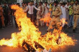 巴基斯坦穆斯林集会抗议袭击加沙 点燃代表美以木偶
