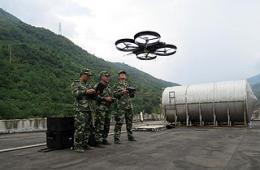 武警首次运用四旋翼无人机救灾