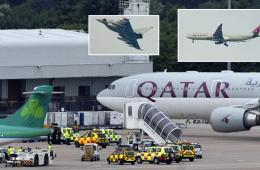 """卡塔尔航班现""""炸弹骗局"""" 英皇家空军护送"""