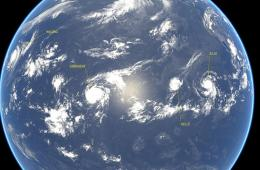 卫星拍摄太平洋上空同时惊现4股风暴