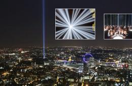 伦敦纪念一战光谱演出穿透夜空