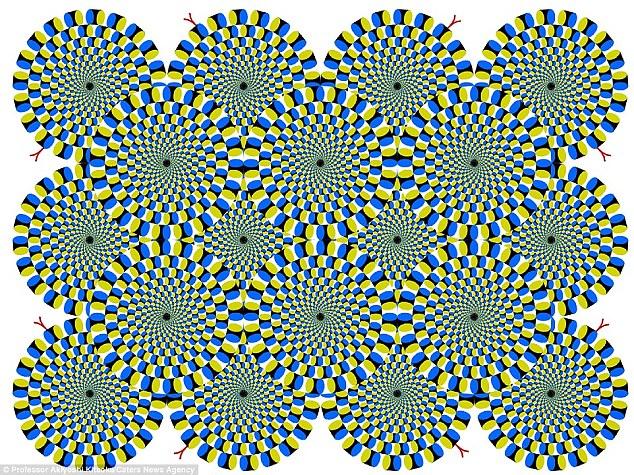 """如果你盯着下图看会发现圆圈和点在同时""""转动"""""""