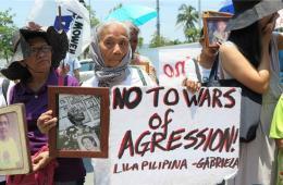 菲妇女团体日驻菲使馆前抗议 要求为慰安妇讨还公道