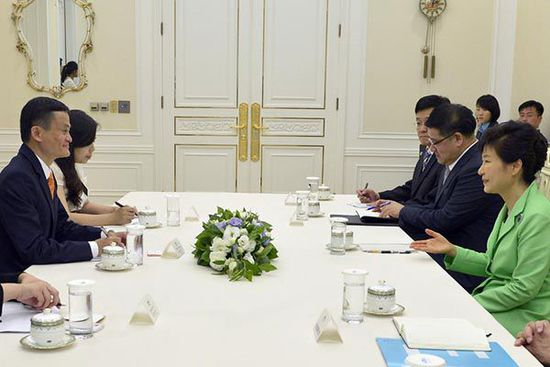 韩国总统朴槿惠单独见马云谈电商合作