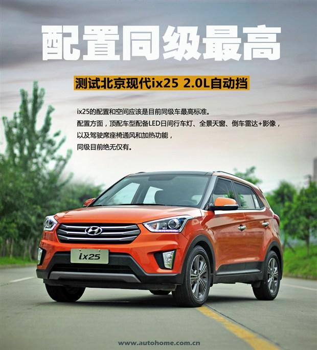 配置同级最高 测试北京现代ix25 2.0L