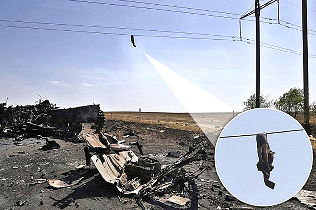 乌克兰士兵尸体被残忍悬挂高压线