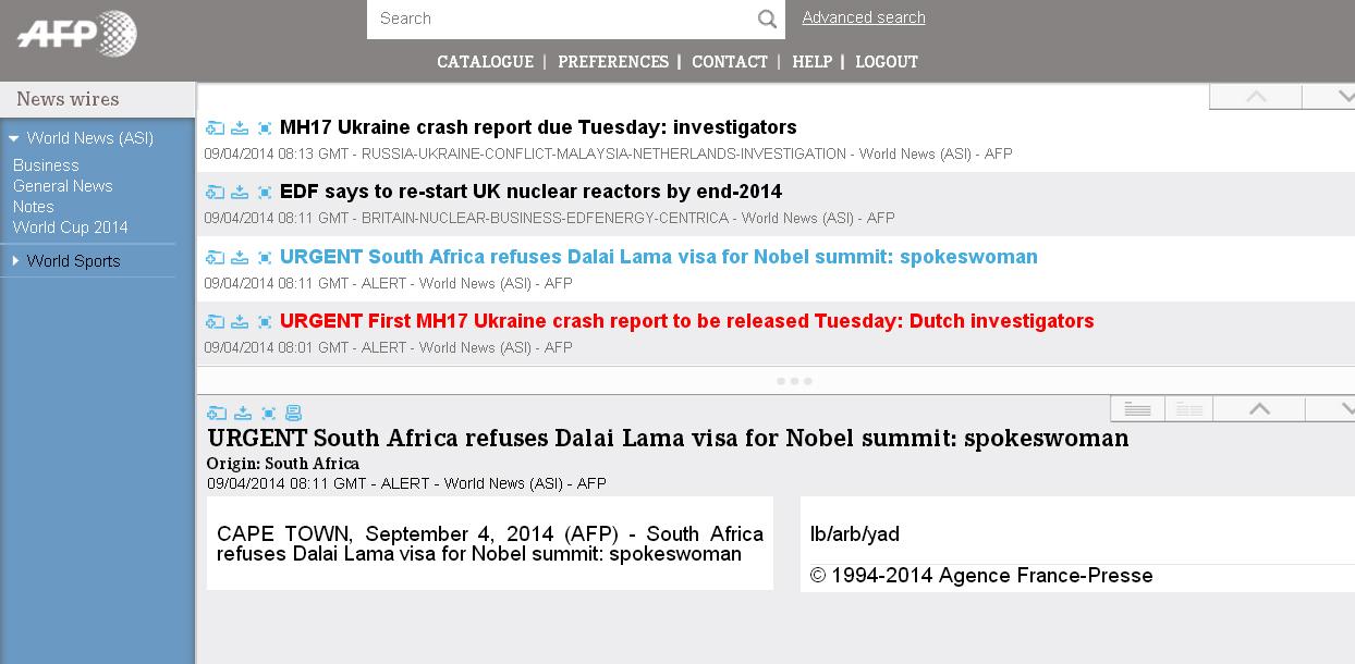 外媒:南非拒绝达赖喇嘛参加诺贝尔峰会签证